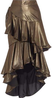 Johanna Ortiz - Asymmetric Ruffled Lamé Maxi Skirt - Gold