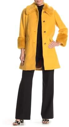 Kate Spade Fluffy Faux Fur Trim Coat