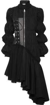 J.W.Anderson Asymmetric Plissé-Satin Dress