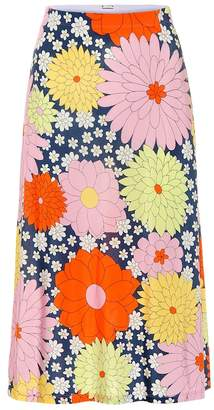 Dodo Bar Or Floral jersey midi skirt