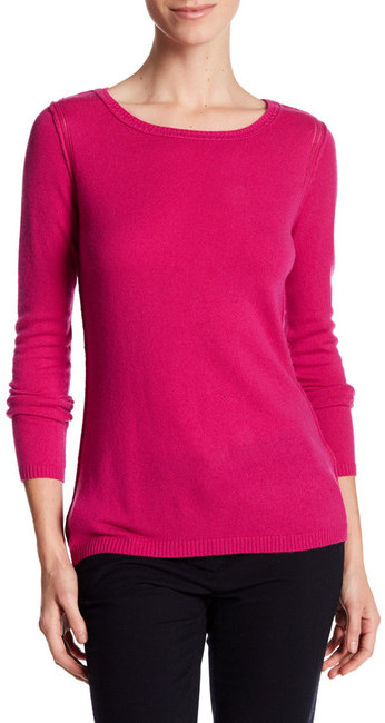In Cashmere Cashmere Open-Stitch Pullover Sweater