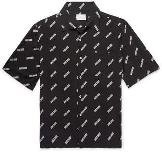 Aries Camp-Collar Logo-Print Woven Shirt - Black