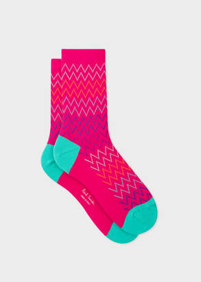 Paul Smith Women's Pink Multi-Coloured Zig-Zag Stripe Socks