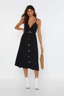 Nasty Gal Womens A Far Tie Button Midi Dress - Black - L, Black