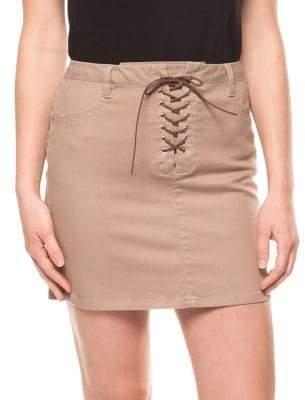 Dex Lace-Up Mini Pencil Skirt