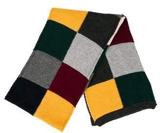 Drakes Drake's Wool Rib Knit-Trimmed Scarf