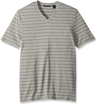 Perry Ellis Men's Jersey Heathered Stripe V-Neck T-Shirt