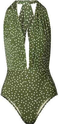 Adriana Degreas - Millie Polka-dot Halterneck Swimsuit - Army green