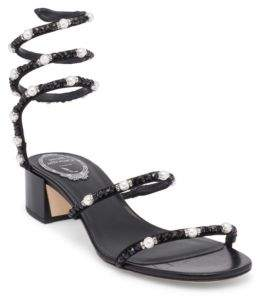 Rene Caovilla Pearl and Crystal Ankle Wrap Sandals