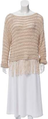 Intermix Fringe-Trimmed Woven Sweater