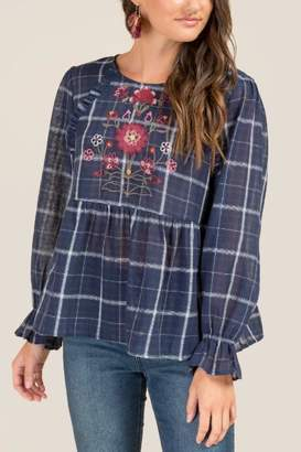 francesca's Marissa Floral Embroidered Blouse - Navy