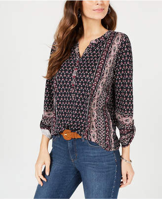 Style&Co. Style & Co Printed Roll-Tab Sleeve Top, Created for Macy's