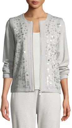 Joan Vass Sequined Zip-Front Knit Jacket, Petite