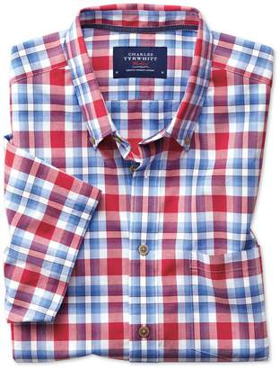 Charles Tyrwhitt Classic Fit Button-Down Poplin Short Sleeve Sky Blue and Red Check Cotton Casual Shirt Single Cuff Size Small