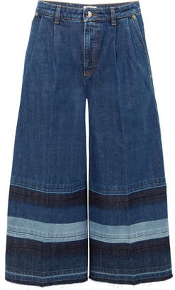 Sonia Rykiel Striped Cropped Mid-rise Wide-leg Jeans - Blue