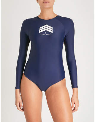 Perfect Moment Ladies Navy and Red Rainbow Chevron Long-Sleeved Swimsuit