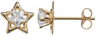 Cubic Zirconia 14k Gold Star Stud Earrings