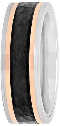 Rosegold Unbranded Mens Cobalt black and rose-gold IP Wedding Band Ring