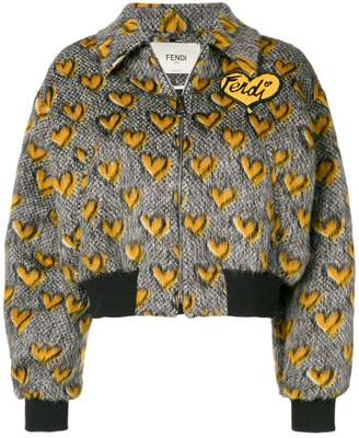 Fendi jacquard hearts bomber jacket