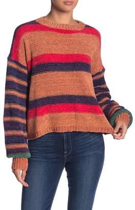 Woven Heart Chenille Striped Pullover Sweater