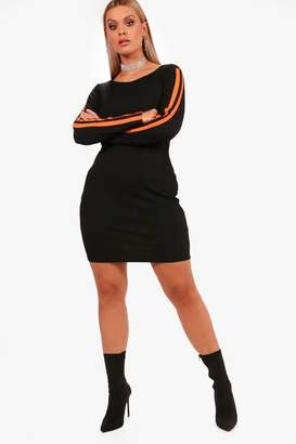 boohoo Plus Sports Stripe Rib Mini Dress