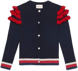 Gucci Children's merino cardigan with ruffles