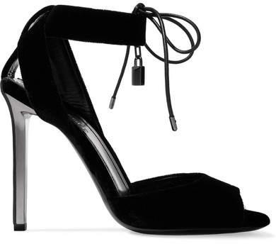 TOM FORD - Leather-trimmed Velvet Sandals - Black