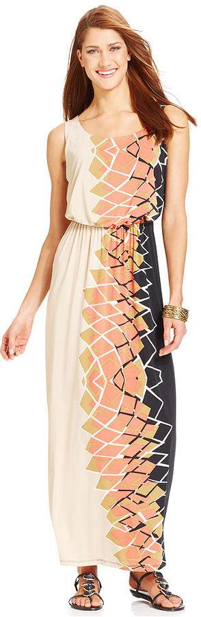 Style&Co. Petite Printed Blouson Maxi Dress