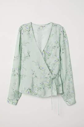 H&M Patterned Wrapover Blouse - Dusky green/floral - Women
