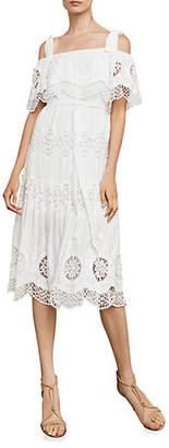 BCBGMAXAZRIA Cold-Shoulder Eyelet Midi Dress