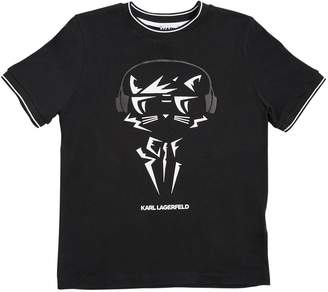 Karl Lagerfeld Headphones Print Cotton Jersey T-Shirt
