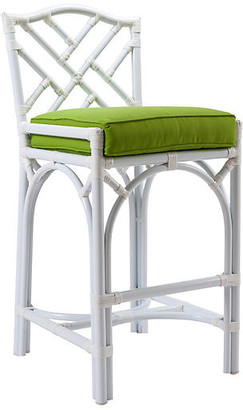 David Francis Furniture Chippendale Outdoor Stool - White/Green