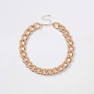River Island Gold tone chunky chain necklace