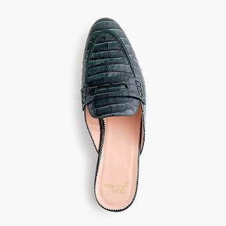 J.Crew Academy penny loafer mules in croc-embossed leather