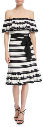 Halston Off-the-Shoulder Striped Dress w/ Tie Waist