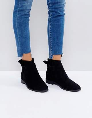 H By Hudson Hudson London Aretha Black Suede Tie Back Flat Ankle Boots