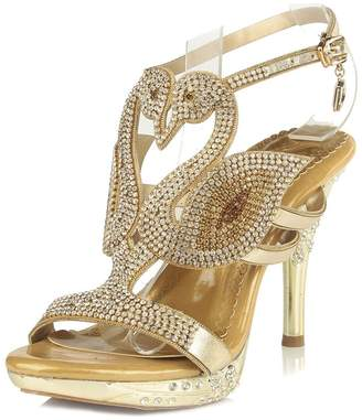 LizForm Women's Rhinestone Strappy Dress Party Shoes Glitter Swan Shaped Platform Sandals 4