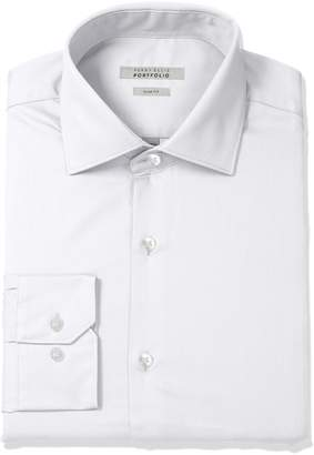 Perry Ellis Men's Slim Fit Wrinkle Free Solid Twill Dress Shirt with Adjustable Collar, White