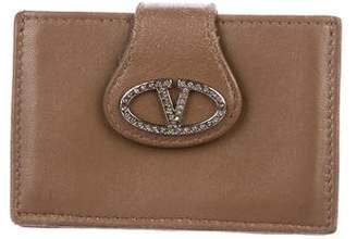 Valentino Crystal-Embellished Leather Card Holder