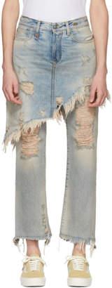 R 13 Blue Double Classic Shredded Hem Jeans