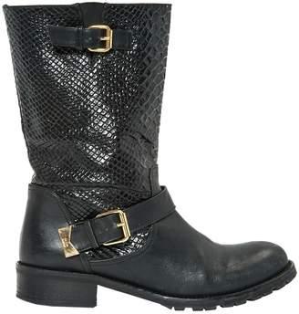 Elisabetta Franchi Black Leather Boots