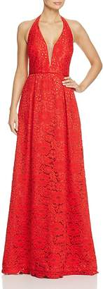 JS Collections Lace Halter Gown