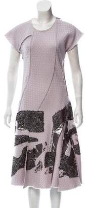 Bottega Veneta Pleated Lace-Trimmed Dress