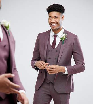 Asos Design Tall Wedding Skinny Suit Jacket In Damson Micro Texture