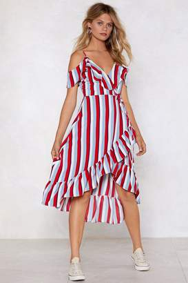 Nasty Gal Stripe Back Round Wrap Dress