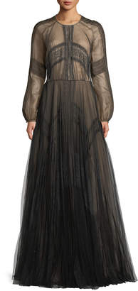 J. Mendel Long-Sleeve A-Line Mesh Evening Gown w/ Lace