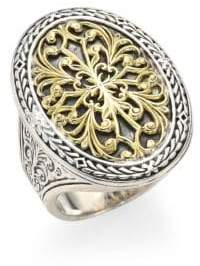 Konstantino Gold Classics Sterling Silver& 18K Yellow Gold Oval Filigree Ring - Silver - Size 7