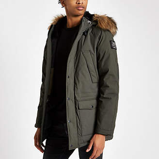 Schott khaki faux fur trim parka jacket