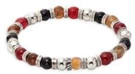 Black Obsidian, Red Tiger's Eye & Topaz Beaded Bracelet