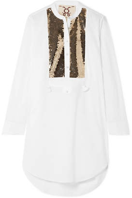 Figue Thalie Sequined-paneled Cotton-voile Tunic - White